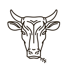 Portrait of cow farm animal bull icon or logo vector