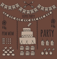 Pow wow party vector