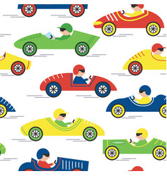 race retro sport car seamless pattern vector image