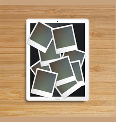 realistic tablet with picture frames vector image