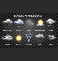 Realistic weather icons on transparent vector