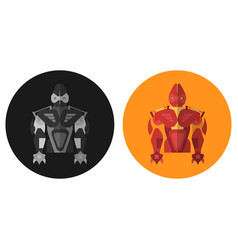 robot in two forms in the style of flat vector image