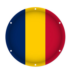 Round metallic flag of chad with screw holes vector