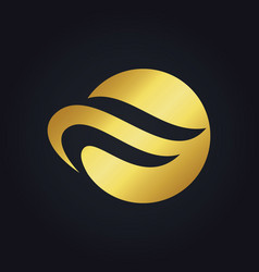 round wave abstract gold logo vector image
