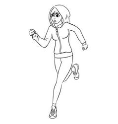 running woman outline silhouette vector image