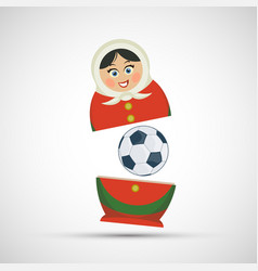russian nesting doll matryoshka with a soccer ball vector image