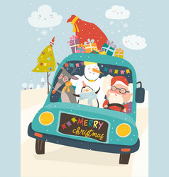 santa claus with reindeer snowman and penguin in vector image