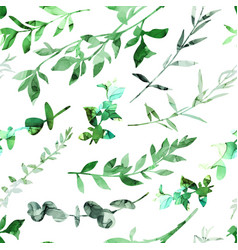 seamless pattern with abstract branches and leaves vector image