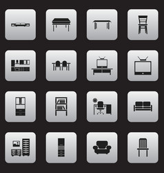 Set 16 editable furniture icons includes vector