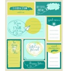 set journaling card and logotypes vector image