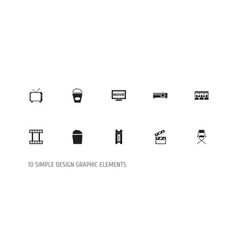 set of 10 editable filming icons includes symbols vector image