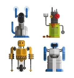 Set of cute vintage robots vector image