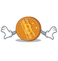 Shock bitcoin coin character cartoon vector