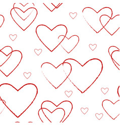 Simple seamless pattern with line red hearts vector