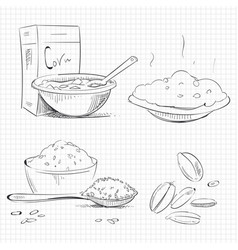 sketch of popular breakfast vector image