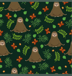 Sloths do yoga seamless pattern graphics vector