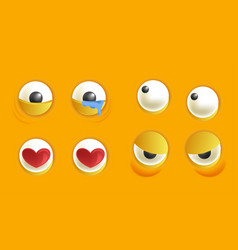 smiley constructor with eyes in different mood set vector image