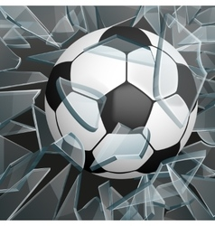 Soccer ball breaking glass vector image