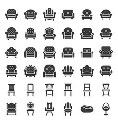sofa and chair icon set solid style vector image