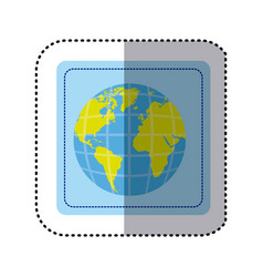 Travel world stickers vector images over 1800 sticker square button earth world map with vector gumiabroncs Choice Image