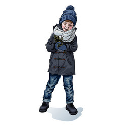 Stylish boy in winter autumn spring cloth sketch vector