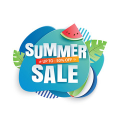 summer sale banner paper cut template blue vector image