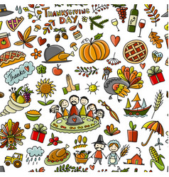 Thanksgiving day seamless pattern for your design vector