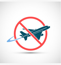 Travel ban airplane icon in a warning sign vector