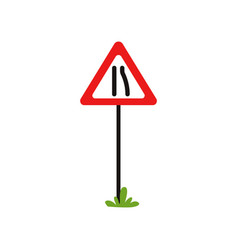 triangular warning traffic sign road narrows to vector image