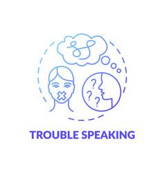 Trouble speaking blue gradient concept icon vector