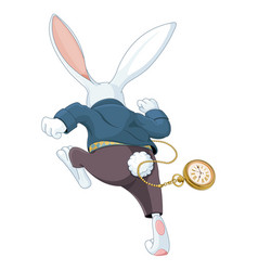 White rabbit running away vector