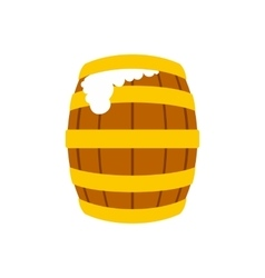 Wooden beer barrel with froth icon vector