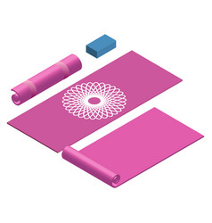 Yoga mat rolled and open yoga block in pink color vector