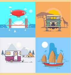 a set of transport vehicles for traveling vector image vector image