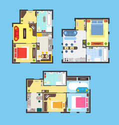 apartment plan with furniture set vector image