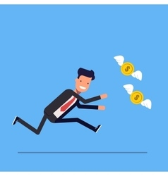 Businessman or manager runs after money flies away vector image vector image