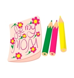 Child drawing of For my Mom picture cartoon icon vector image vector image