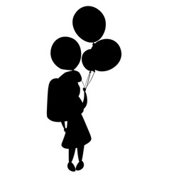 girl silhouette and balloons vector image vector image