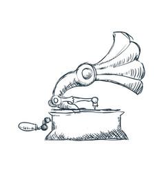 Gramophone vintage draw vector