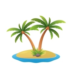 island logo - tropical palm trees with sea waves vector image vector image