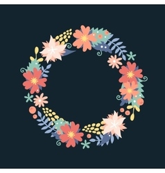Nature flowers wreath with flowers foliage vector image vector image