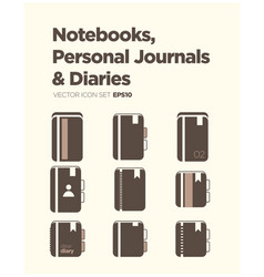 notebooks personal journals and diaries icon set vector image