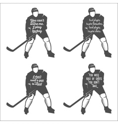 set ofhockey motivational quotes vector image vector image