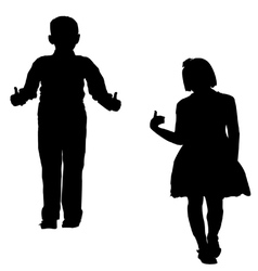 boy and girl silhouettes vector image vector image