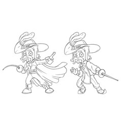 cartoon musketeer with sword character set vector image