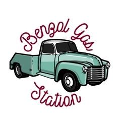 Color vintage gas station emblem vector image vector image