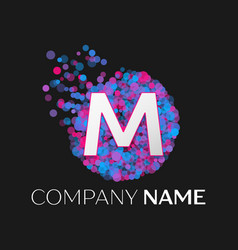 letter m logo with blue purple pink particles vector image vector image
