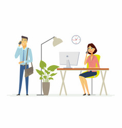 colleagues work in the office - modern cartoon vector image