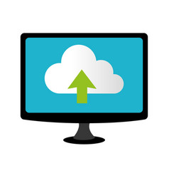 color lcd monitor with cloud upload service vector image vector image