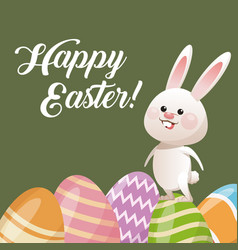 happy easter card rabbit with egg decoration vector image vector image